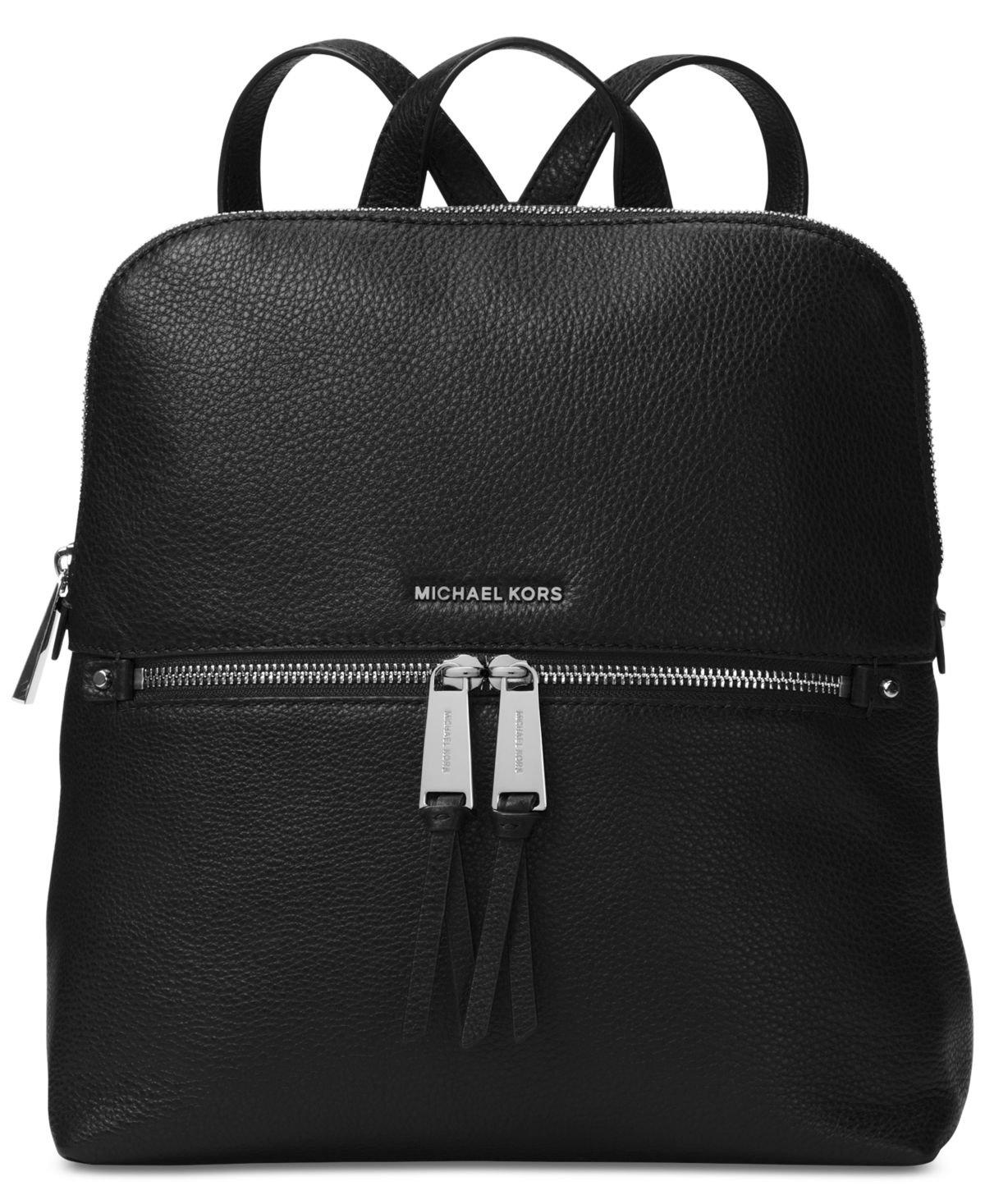 MICHAEL Michael Kors Rhea Zip Medium Slim Backpack - Black