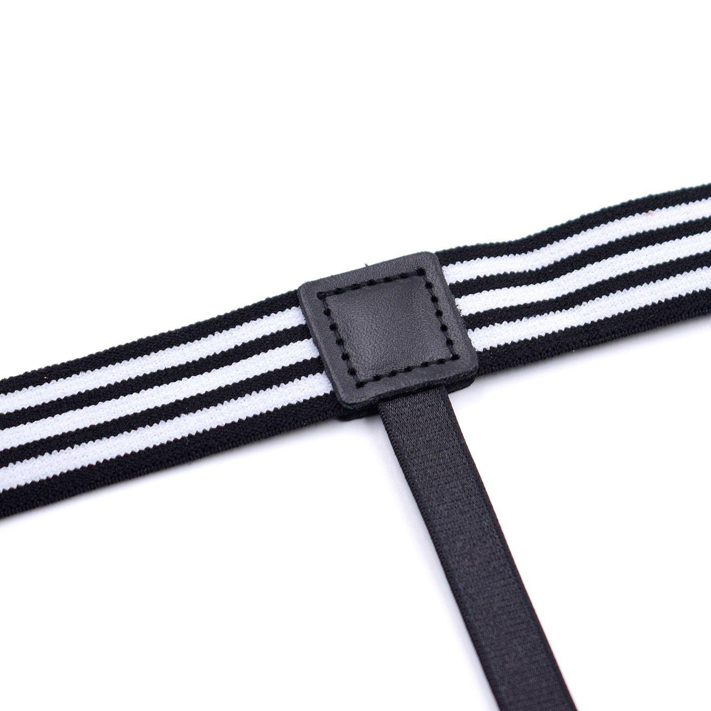 Mens Adjustable Shirt Stay Garter Non-Slip Locking Clamps Suspenders Stripe