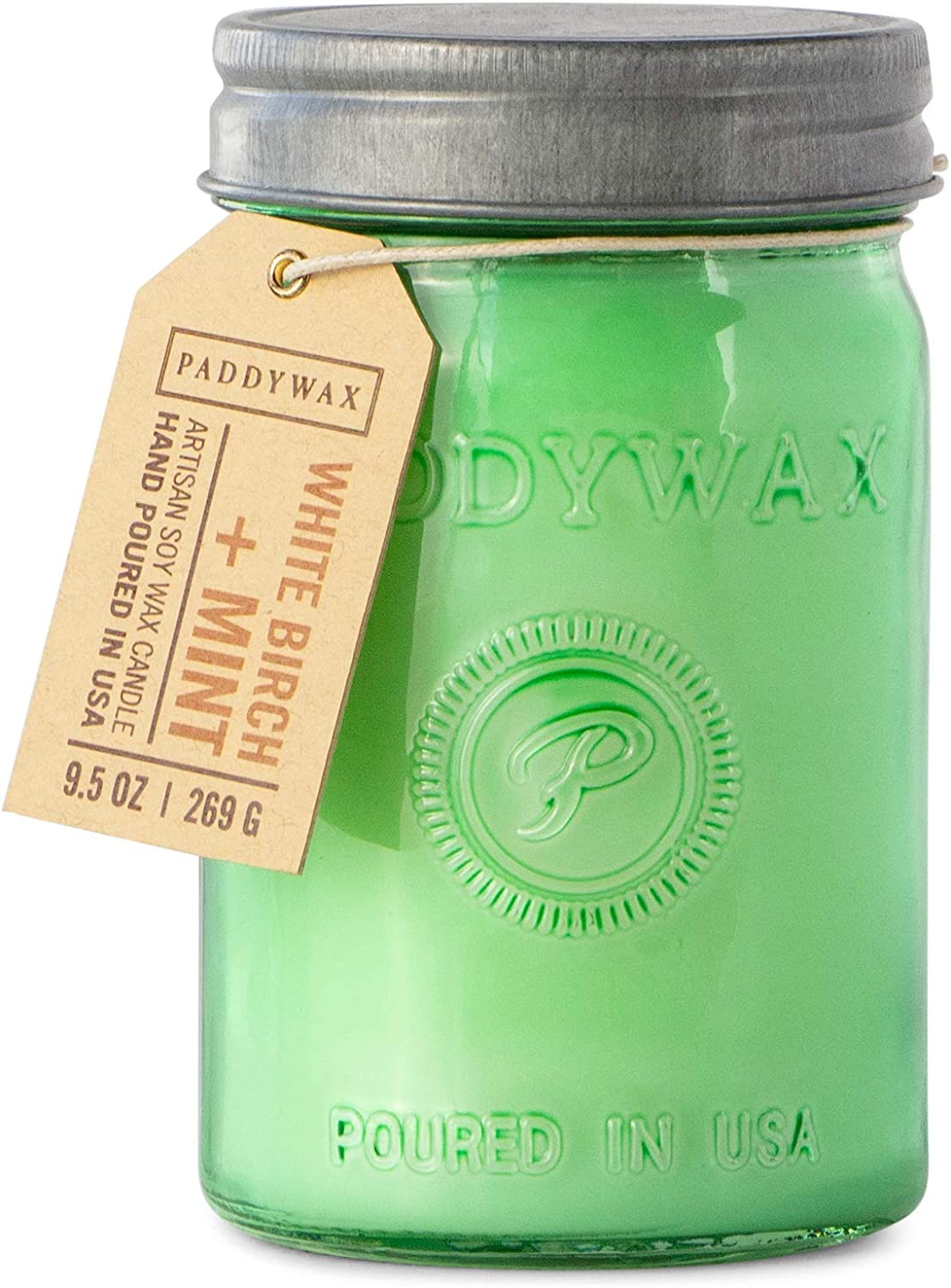 Paddywax Candles Relish Collection Soy Wax Blend Candle in Mason Jar Candle, Medium- 9.5 Ounce, White Birch + Mint: Home & Kitchen