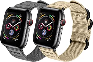 Watpro Compatible with Apple Watch Band 38mm 40mm 42mm 44mm Women Men Nylon Rugged Replacement iWatch Band Military-Style Buckle Grey Adapters for Sport Series 5 4 3 2 1 (2-Gray+Khaki, 38MM/40MM)