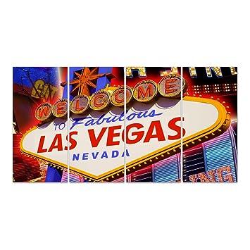 Dekoglas Glasbild Las Vegas Schild Echtglas Bild Kuche Wandbild