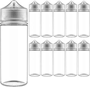 Chubby Gorilla 120mL V-3 Clear PET Unicorn Plastic Bottles (10 Pack) - Squeeze bottle, Juice Bottles Authentic Chubby Gorilla Dropper Bottle