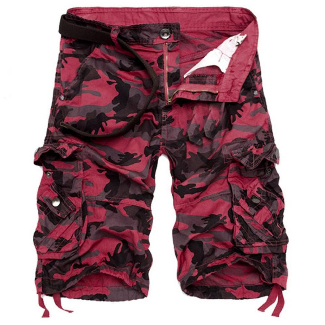 PASATO Fashion Mens, Casual PantsPocket Beach Work Casual Short Trouser Shorts (Red,36)