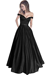 5a53a069 Harsuccting Off The Shoulder Beaded Satin Evening Prom Dress with Pocket