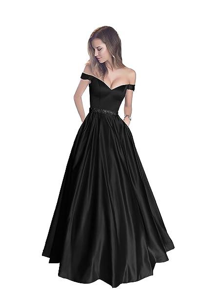 5d741d6f1ce4e Harsuccting Off The Shoulder Beaded Satin Evening Prom Dress with Pocket  Black 2