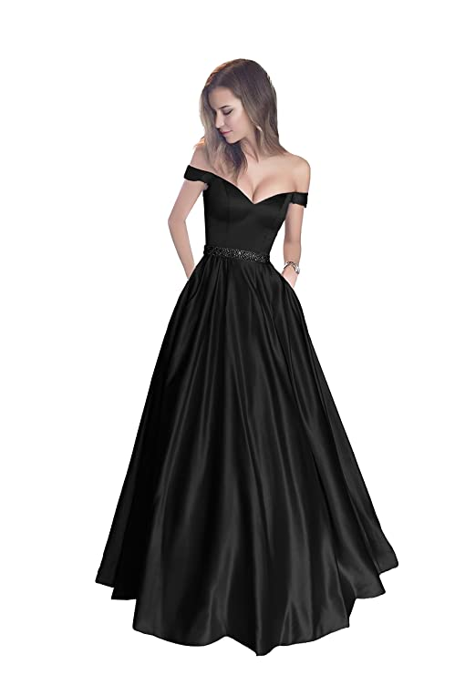 d90d6ab76985f Amazon.com  Harsuccting Off The Shoulder Beaded Satin Evening Prom Dress  with Pocket  Clothing