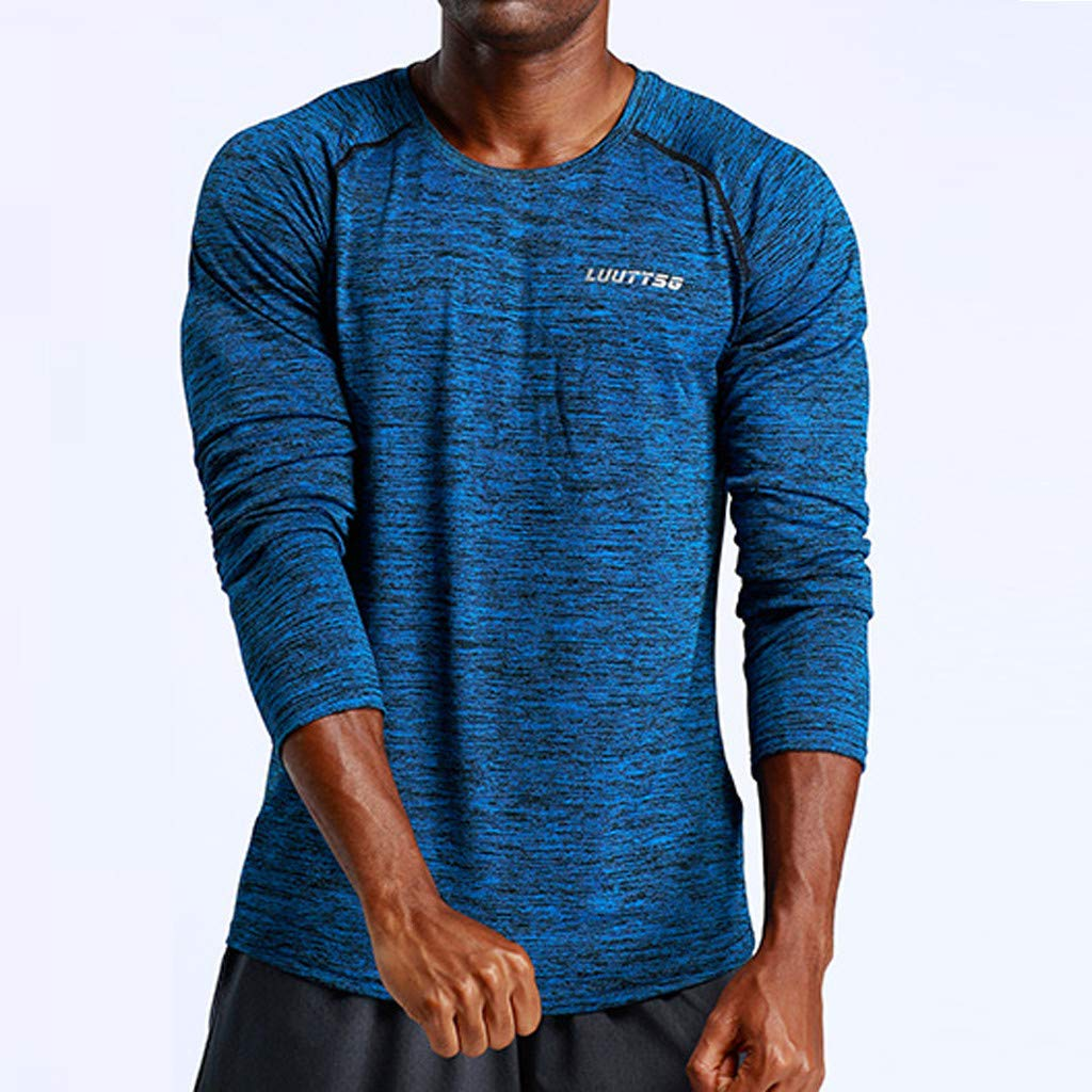 Shirt for Men,Mens New Fitness Training Clothes Long Sleeve Blouse Outdoor Sports Blouse Top