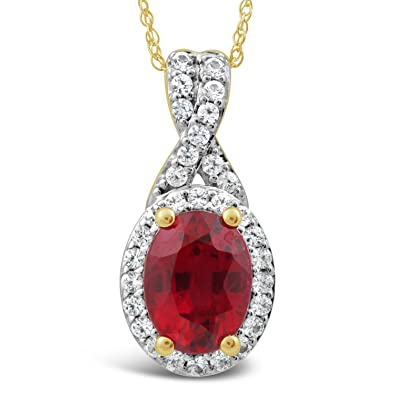 6a053577bd1b5 Amazon.com: Lab Created Ruby Necklace with Created White Sapphires ...