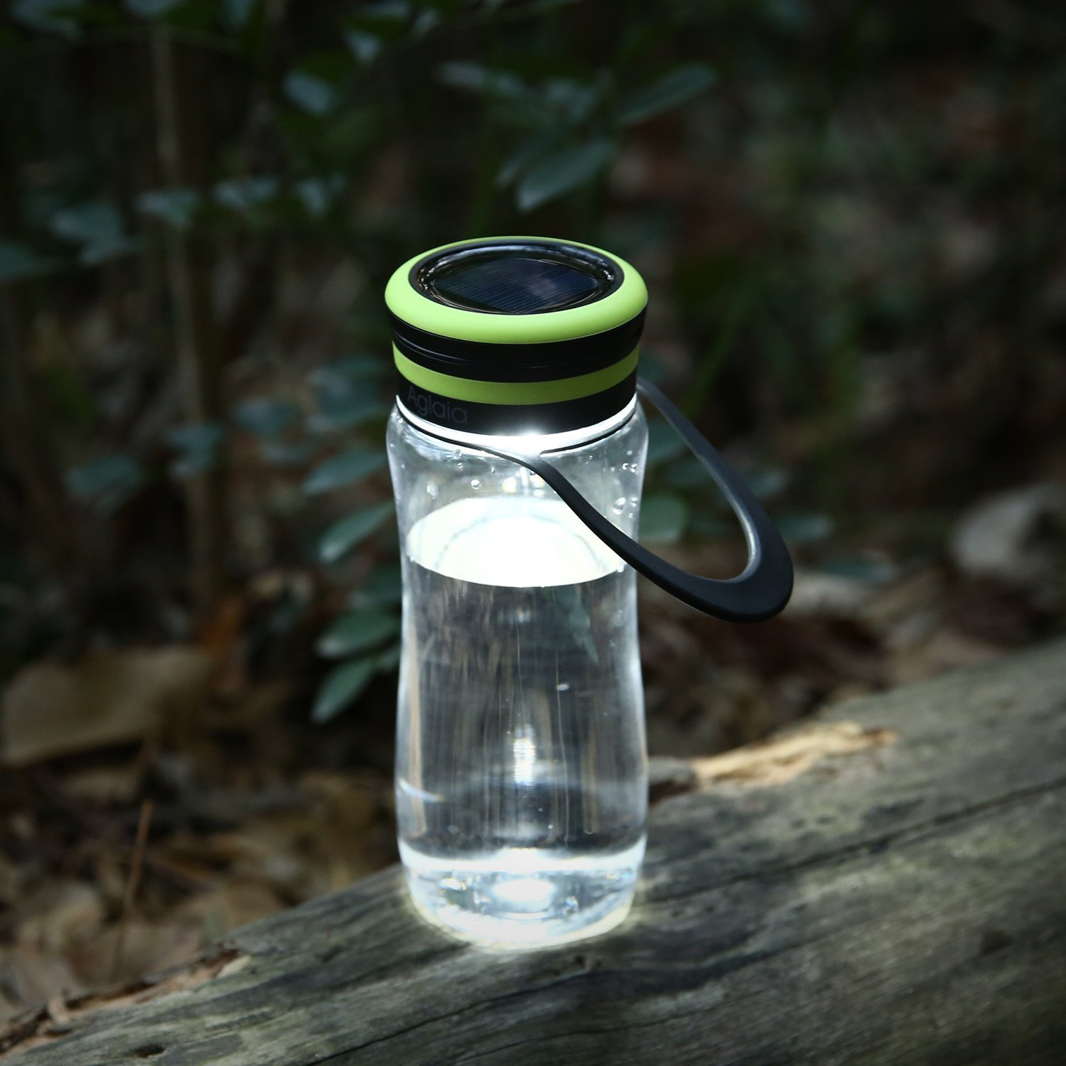 Water Bottle Aglaia Camping light Bottle with Built-in LED,3 Light Levels with USB & Solar Rechargeable, Outdoor Light with IPX6, Bottle Shade for Drinking, Storage