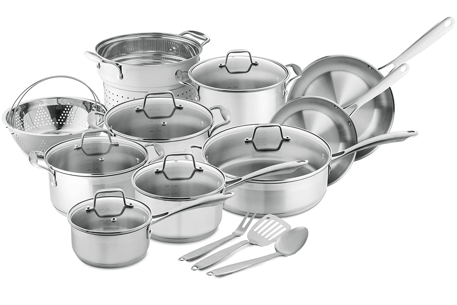 Amazon.com: Chef\'s Star 17-Piece Pots & Pans Stainless Steel - 17 ...