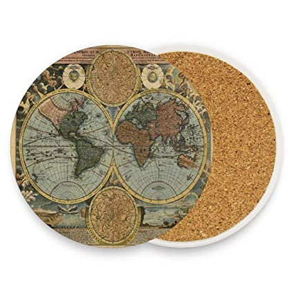 Amazon.com | Old World Map Coasters, Prevent Furniture From ...