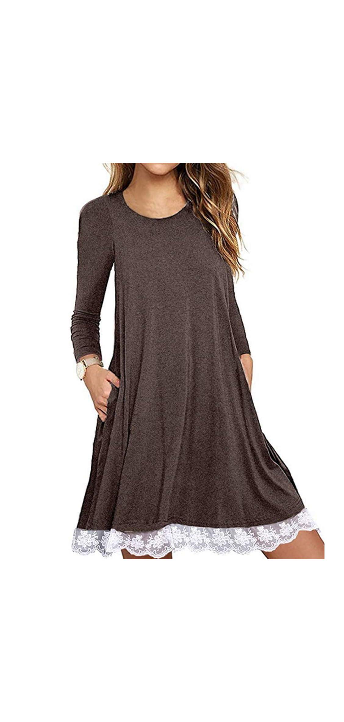Women's Summer Fall Short Sleeve/long Sleeve Lace Hem