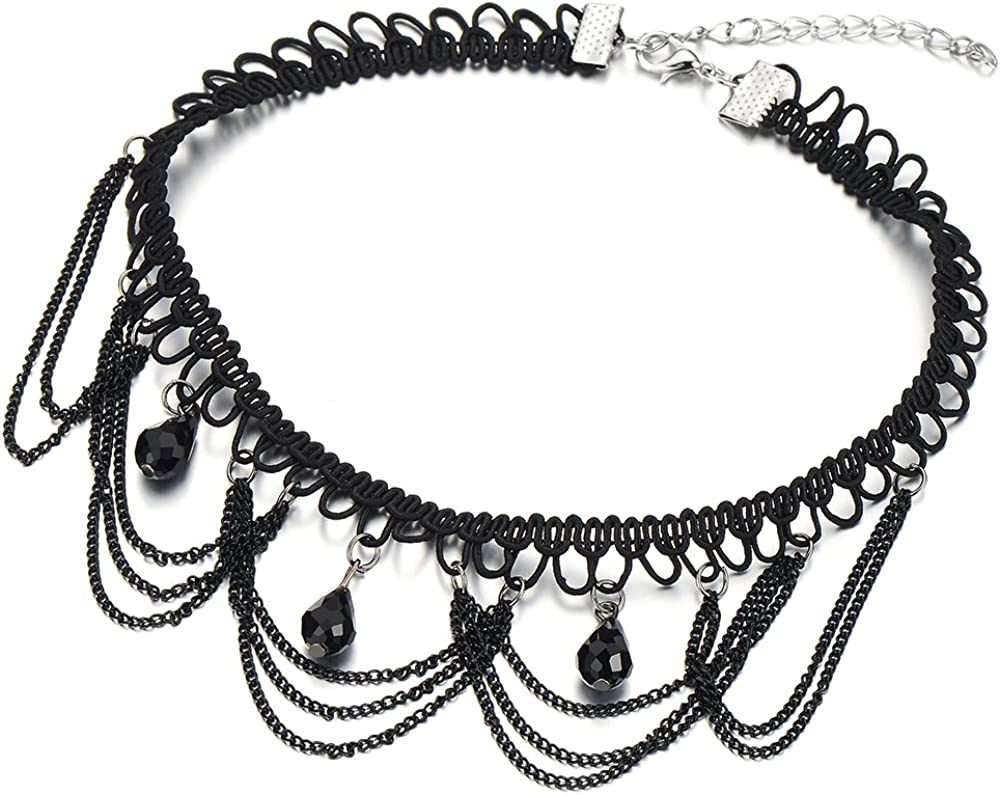 COOLSTEELANDBEYOND Estilo Gótico Negro Collar de Gargantilla Choker Collar de Mujer, Lágrima Perla Negro Charm Colgante