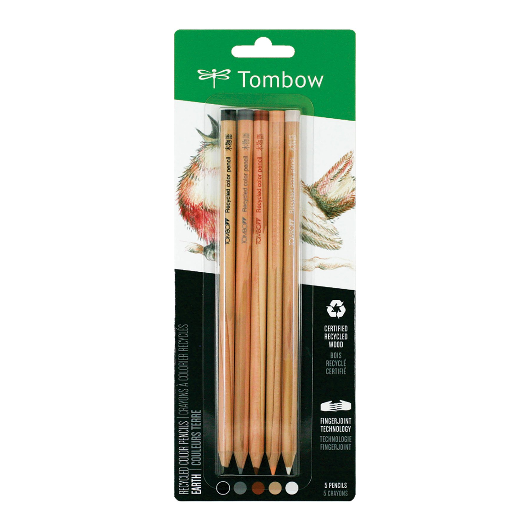 Tombow Recycled Colored Lapizs, Earth, 5-Pack