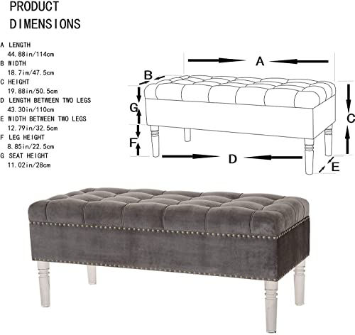 Glitzhome 44.88 L Velvet Storage Ottoman Bench Padded Chest with Lid Tufted Upholstered Folding Seat with Acrylic Legs, Grey
