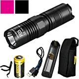 Nitecore P05 460 Lumens Self-Defense Instant Strobe EDC Tactical LED Flashlight with Rechargeable RCR123A Nitecore Battery, Nitecore F1 Charger, and LumenTac USB Charging Cord