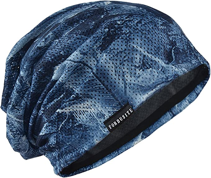 Very breathable blue retro cool hot weather beanie with small holes