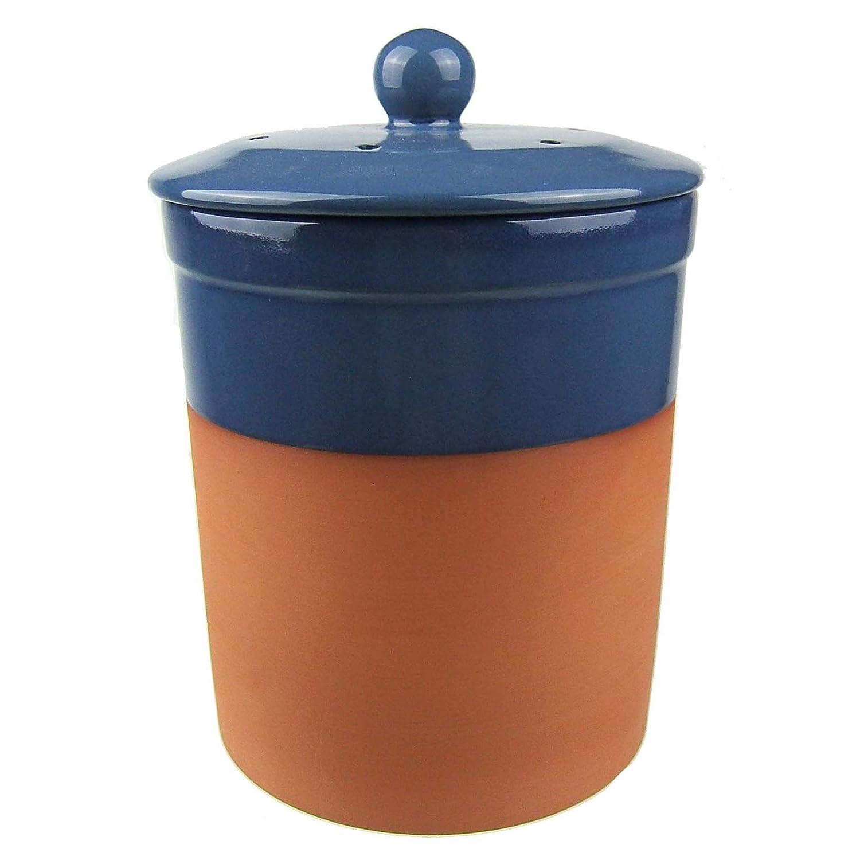 Keramik Terracotta Küchen-Komposteimer, (Blau), Chetnole Keramik ...