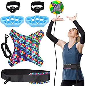 Tanice Volleyball Training Equipment Aid - Solo Practice Trainer for Serving, Setting, Spiking & Arm Swing, Returns Ball After Every Swing, Great Gift for Beginners & Pro