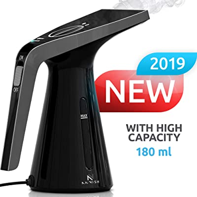 ANVISH Steamer for Clothes Garment Portable Handheld Fabric Steamer and Wrinkle Remover with High Capacity for Home and Travel [Black]