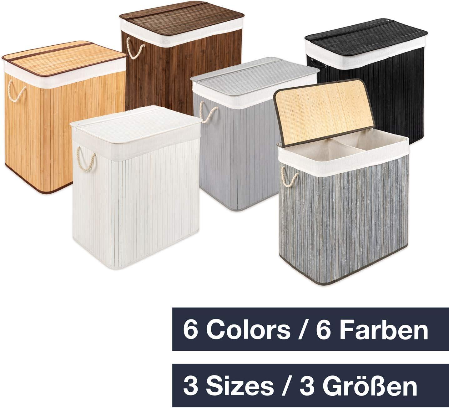 WohnDirect W/äschekorb mit Deckel und Fach /• stabile W/äschebox Bambus /• W/äschekorb Braun mit W/äschesack waschbar /• 100/% Bambus /• 72 Liter