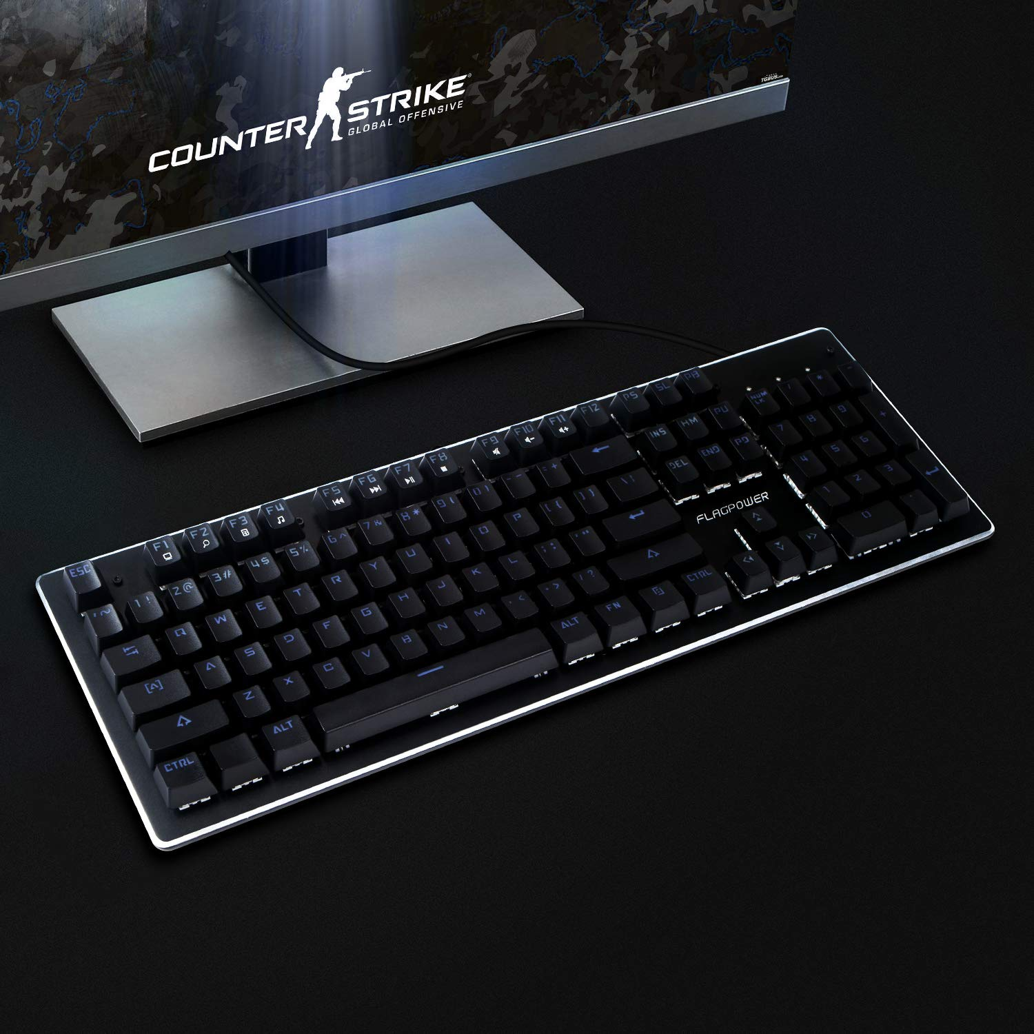 FLAGPOWER Mechanical Gaming Keyboard 10 LED Backlit Modes 104 Keys Anti-Ghosting Mechanical Gaming Keyboard with Blue Switches Aluminum Plate for PC and Mac Gamers-Pro Gamers