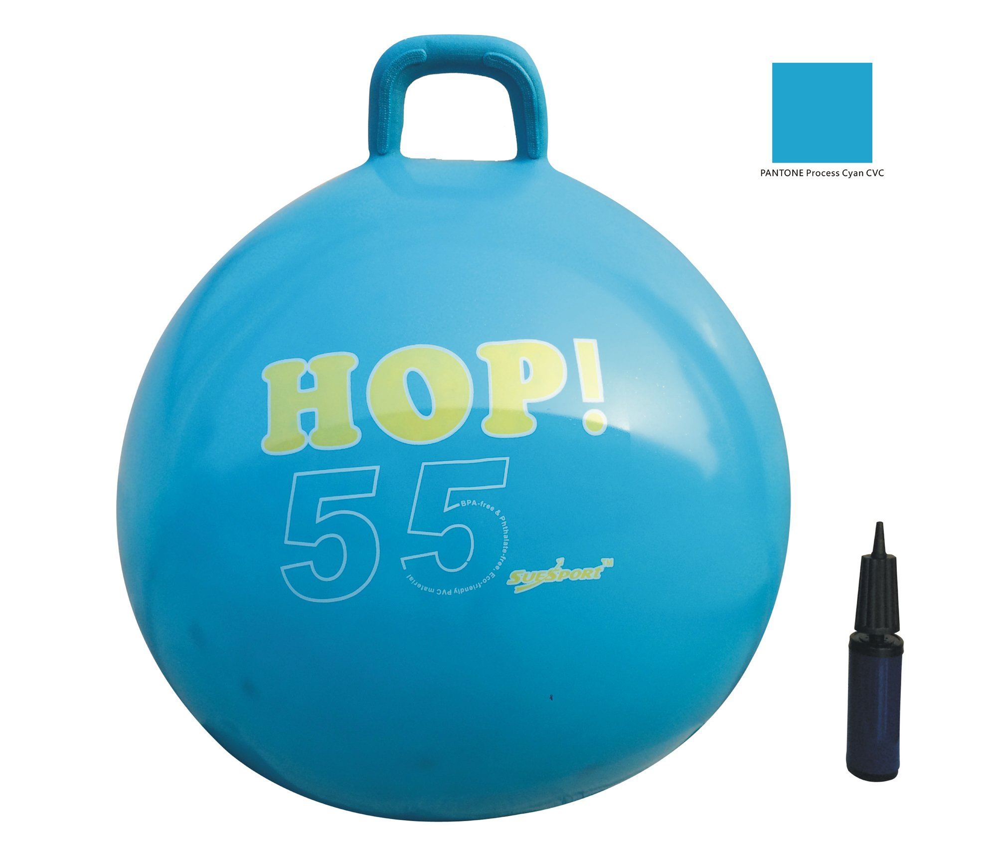 SUESPORT Hopper Ball Kit,Pump Included, 22in/55cm, Blue, Hop Ball, Kangaroo Bouncer, Hoppity Hop, Sit and Bounce, Jumping Ball, 2-Size by 3-Colors Available