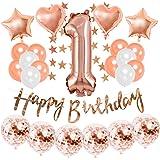 1歳誕生日飾り付け ローズゴールド 数字1 ラテックスバルーン happy birthdayバナー ガーランド シャンパンカラー 女の子 誕生日 ベビーシャワー飾り イベント装飾