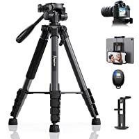 KINGJUE 67 inch Camera Tripod for Canon Nikon Lightweight Aluminum Travel DSLR Camera Stand with Carry Bag Universal…