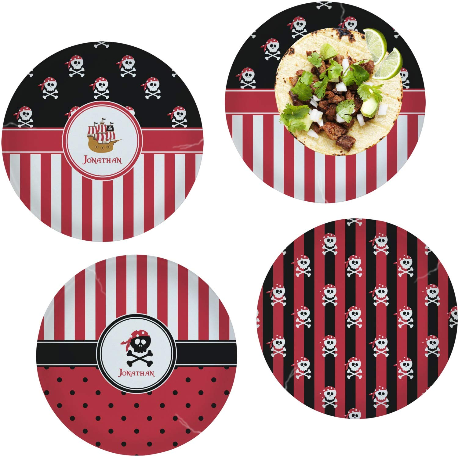 Pirate & Stripes Set of 4 Glass Lunch/Dinner Plate 10'' (Personalized) by YouCustomizeIt (Image #1)