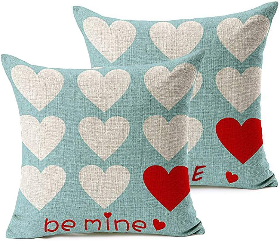 FOOZOUP Valentine's Day Throw Pillow Cases Be Mine Love Heart Home Decor Cushion Cover for Sofa Couch (Set of 2)