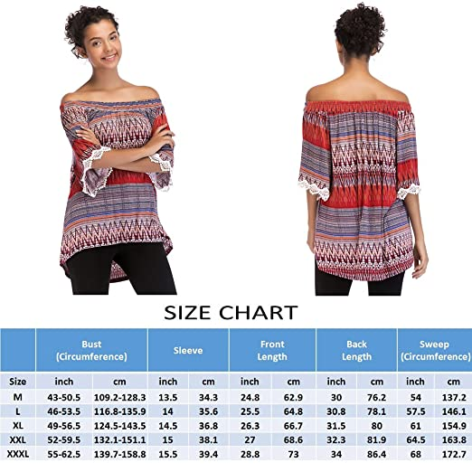 c3a7a7300fd98f OneWorld Women s Boho Print Off Shoulder Lace Trim Flare Sleeve Top Loose  Tunic Blouse Shirt at Amazon Women s Clothing store