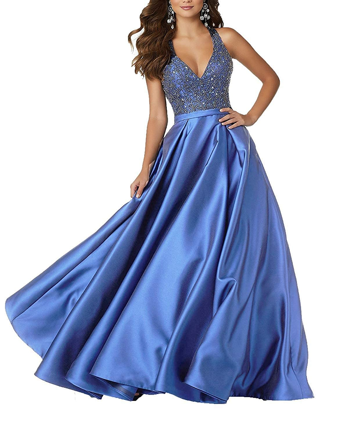 bluee Staypretty Long Prom Gowns for Women Beaded V Neck Evening Dress Satin Aline Backless Formal Gown