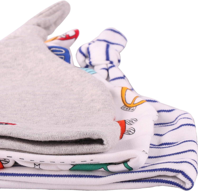 Biofieay Newborn Baby Cotton Hat Sleep Beanie Unisex Boys Girls Infant Adjustable Knot Cap 0-6M 3 pcs