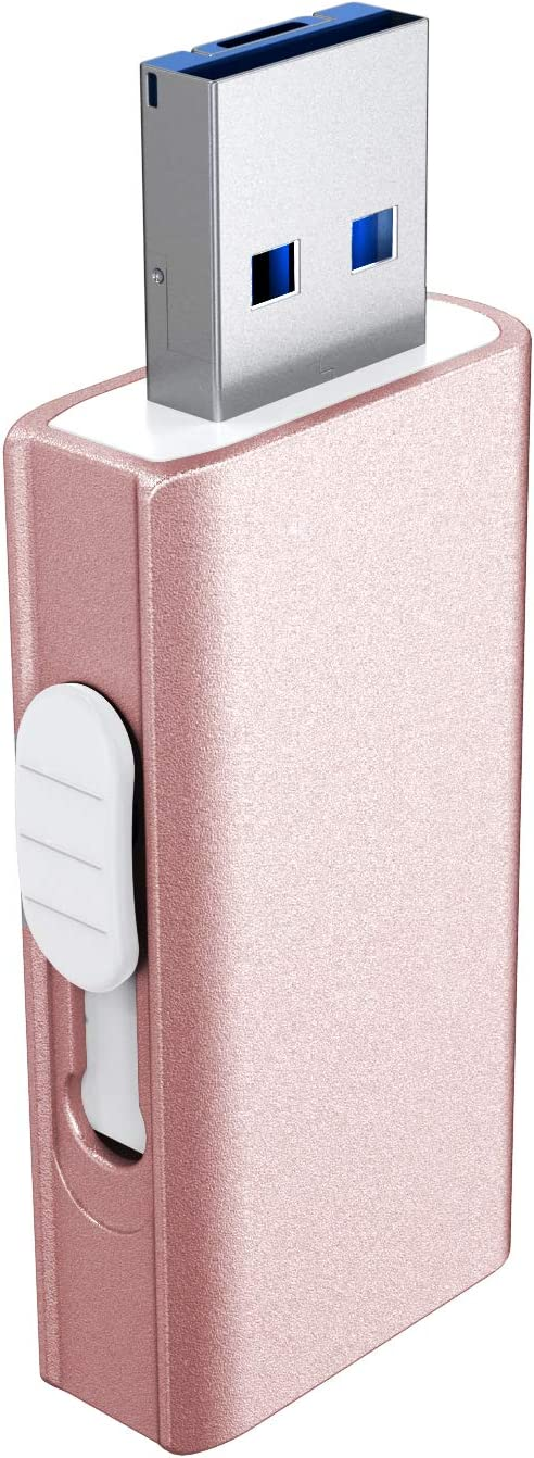 USB Flash Drive for iPhone, DULEES 64GB iPhone Photo Stick Lightning External Memory Storage for iPad iMac Android PC Backup Pictures Thumb Jump Drive (Rose Gold)