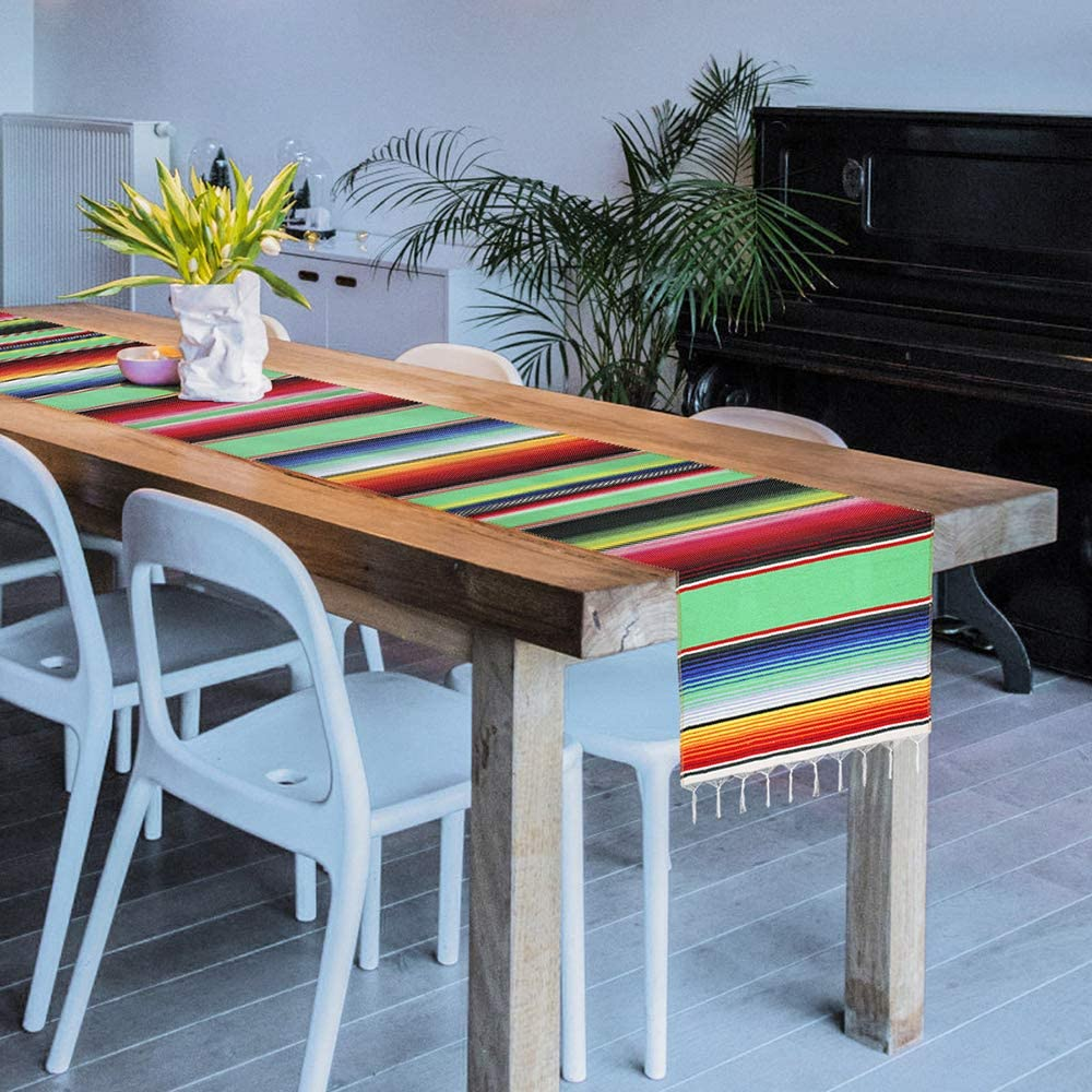 Green, 1 Xplanet Mexican Table Runner 14 x 84 inch Colorful Striped Mexican Serape Blanket Party Wedding Decorations Fringe Cotton Table Runner