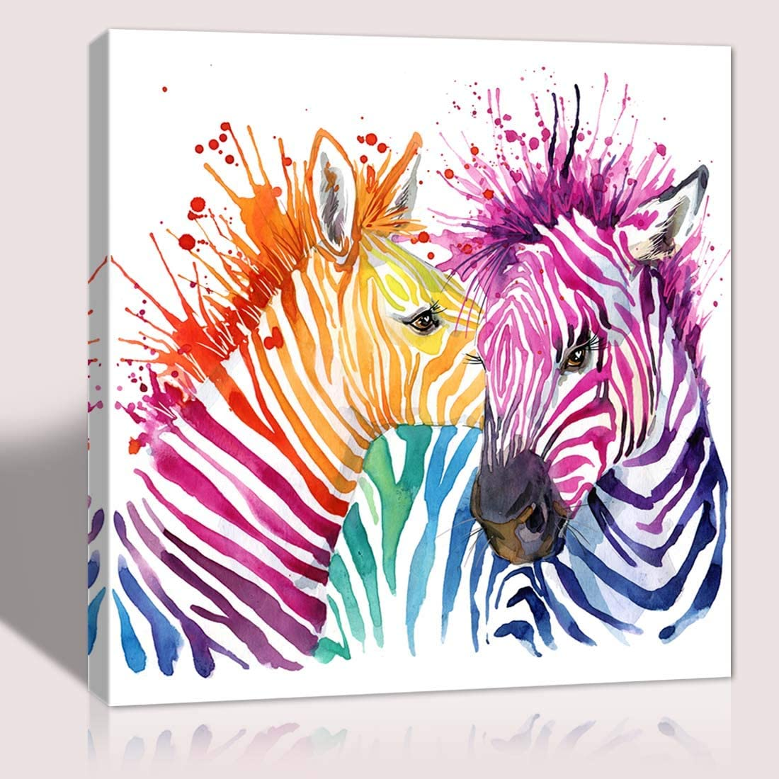 The melody art cut colorful zebra pictures canvas print anime poster wall decoration for home bedroom girl room nursery room framed wall art 16x16 in 1 PCS