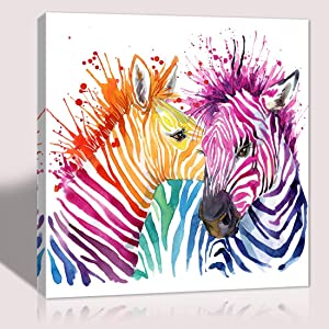 The melody art cute colorful zebra pictures canvas print anime poster wall decoration for home bedroom girl room nursery room framed wall art 12x12 in 1 PCS