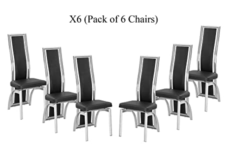 Modernique X6 Black Dining Chairs In Faux Leather Foam Padded And Solid Made Chrome Frame