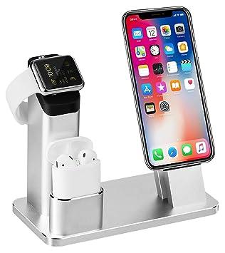 3 in 1 Ladestation Kompatibel mit Apple Watch Series 4/3/2/1, Aluminum  Ständer für Apple Watch iPhone Airpods, Docking Station für iPhone ...
