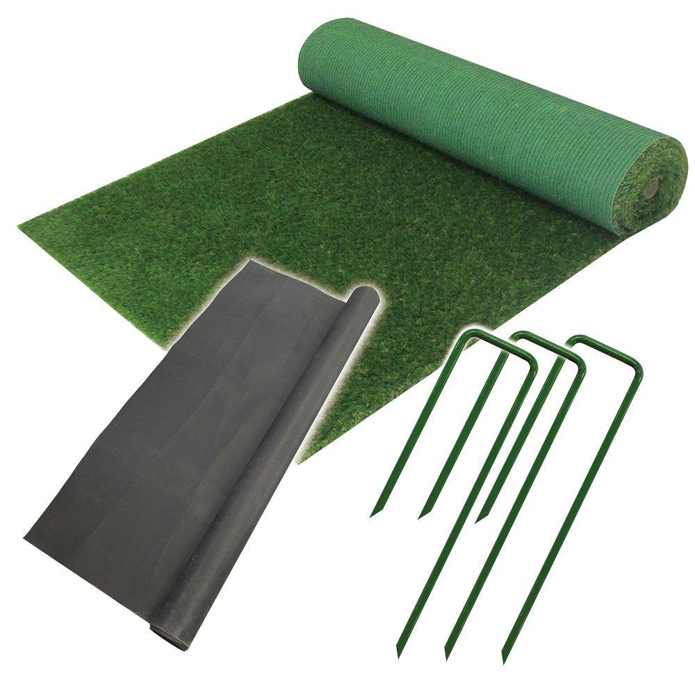 【ダイムオリジナルセット】C型30㎜人工芝と押さえピンと防草シートのセット 全4規格 お庭リニューアルセット!! (芝1m×5m) B07BN9L4LB 11000   芝1m×5m