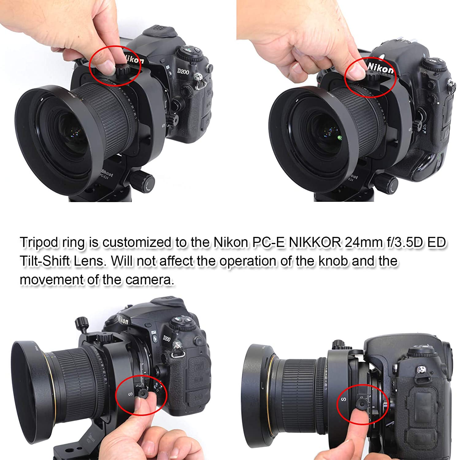 Tripod Mount Ring Lens Collar for Nikon PC-E FX Micro-NIKKOR 45mm f//2.8D ED and 24mm f//3.5D ED Tilt-Shift Lens Aviation Aluminum Camera Lens Support with Quick Release Plate for ARCA Tripod Ball Head