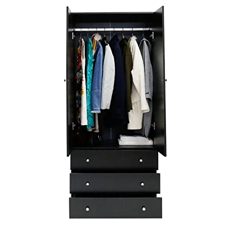 Kinbor Two Door Wardrobe Cabinet Armoire, With Three Drawers, And Hanging  Rod (black