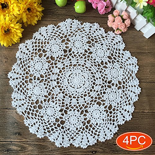 (Elesa Miracle 20 Inch 4pc Handmade Round Crochet Cotton Lace Table Placemats Doilies Value Pack, Flower, Beige / White (4pc-20 Inch White))