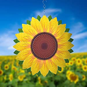 Wind Spinner Yard Art Garden Decor 3D Stainless Steel Metal Sculptures Sunflower Kinetic Hanging Whirligigs Decorations Backyard Outside Indoor Outdoor Patio Ornaments Clearance Sun Catcher Windmill