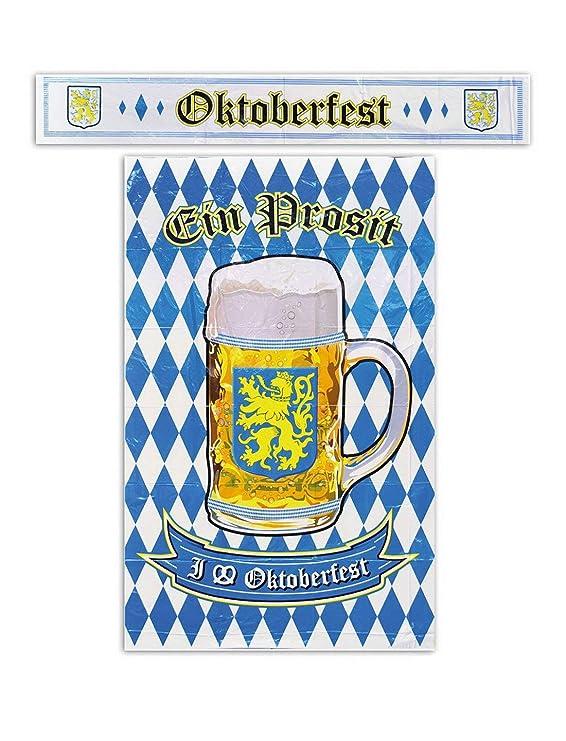 toybakery - Oktoberfest Dekoration Deko Poster und Banner mit blau weißer bayrischer Raute und Bierkrug, 120cm, ideal für Jed