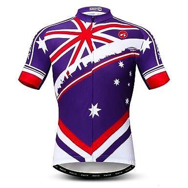 5724f99be02 Weimomonkey Men s Cycling Jerseys Tops Biking Shirts Short Sleeve Full  Zipper Bike Clothing Australian Blue S