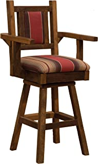 "product image for Fireside Lodge Barnwood Swivel Upholstered Bar Stool with Back and Arms - 30"" Seat Height"