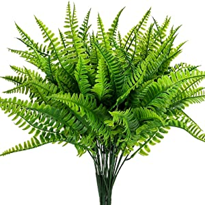 Artificial Boston Fern Plants Bushes Artificial Shrubs Greenery for House Plastic Outdoor UV Garden Resistant Office Garden Indoor Decor (Pack of 4)