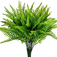 Artificial Boston Fern Plants Bushes Artificial Shrubs Greenery for House Plastic Outdoor UV Garden Resistant Office…
